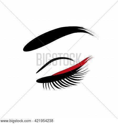 Eyelashes And Eyebrows. Makeup - Vector Illustration On White Background