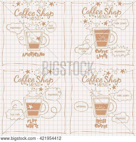Americano. Coffee Latte. Flat White. Set. Coffee Shop Menu. Coffee Cup. Lettering. Coffee Drink Reci