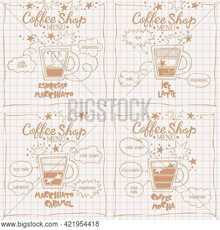 Espresso Macchiato. Coffee Mocha.  Macchiato Caramel. Ice Latte. Coffee Shop Menu. Set. Coffee Cup.