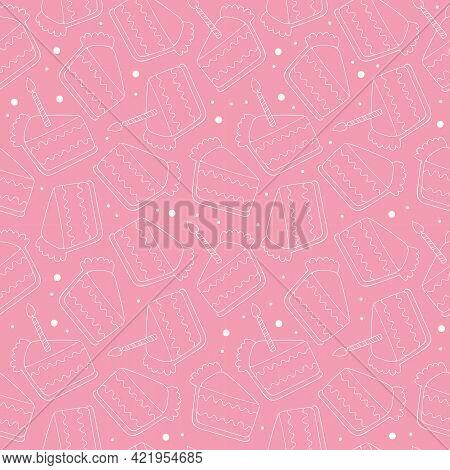 Birthday Cake. Cake Slice. Candle. Seamless Vector Pattern (background). Pink. Cartoon Print.