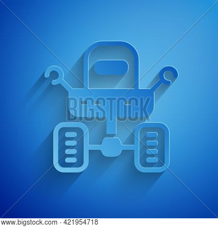 Paper Cut Mars Rover Icon Isolated On Blue Background. Space Rover. Moonwalker Sign. Apparatus For S
