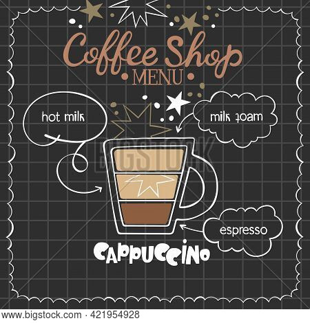 Cappuccino. Coffee Shop Menu. Coffee Cup. Lettering. Coffee Drink Recipe. Isolated Vector Object. Be