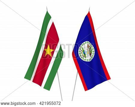 National Fabric Flags Of Suriname And Belize Isolated On White Background. 3d Rendering Illustration