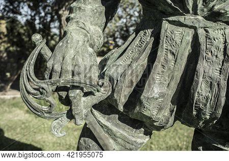 Badajoz, Spain - September The 7th, 2020: Francisco Pizarro Statue. Sword Closeup. Spanish Conqueror