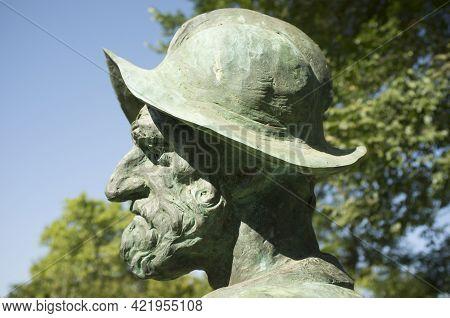 Badajoz, Spain - September The 7th, 2020: Francisco Pizarro Statue. Profile Closeup. Spanish Conquer