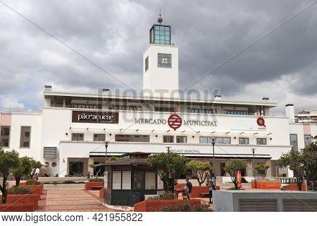 Faro, Portugal - May 30, 2018: Municipal Market (portuguese: Mercado Municipal) In Downtown Faro, Po