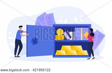 Male And Female Characters Are Saving Money And Other Valuables In Bank Safe. Concept Of Financial P