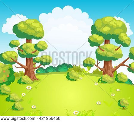 Glade In The Middle Of The Park With Green Grass And Flowers Vector Illustration