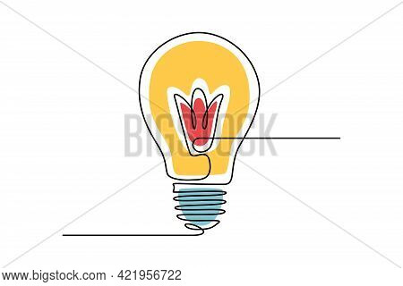 Light Bulb In One Continuous Line Drawing. Lamp In Lineart Style. Editable Stroke. Concept Of Creati