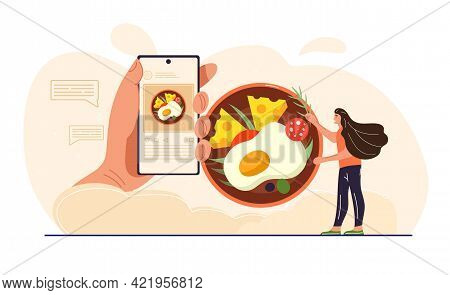 Young Female Character Food Blogging On Her Smartphone. Woman Taing Pictures Of Food And Writes Revi