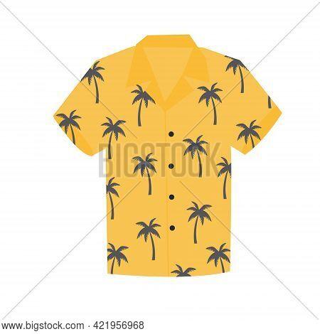 Hawaiian Aloha Shirt For Happy Carefree Vacation. Vector Illustration On A White Background.