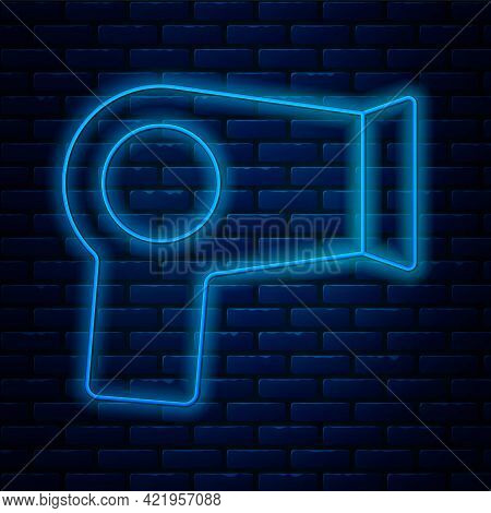 Glowing Neon Line Hair Dryer Icon Isolated On Brick Wall Background. Hairdryer Sign. Hair Drying Sym