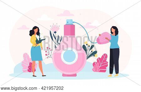 Two Female Characters Using Perfume. Big Aroma Spray Product. Vintage Bottle And Hygiene Fragrance F
