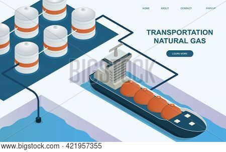 Huge Tanker Is Transporting Natural Gas. Concept Of Liquefied Natural Gas Transportation. Oil And Ga