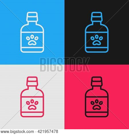 Pop Art Line Dog Medicine Bottle Icon Isolated On Color Background. Container With Pills. Prescripti