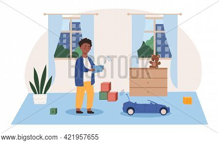 Little Cute Boy Playing With Radio Controlled Toy In Room. Sportcar With Remote Control. Concept Of