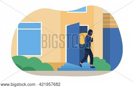Man In Black Mask Breaking Into House And Robbing It. Concept Of Burglar, Criminal Stealing Money An
