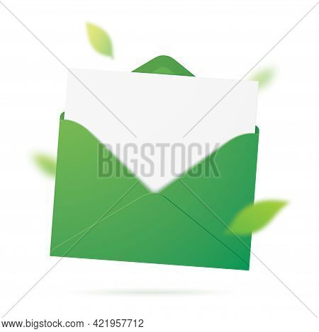 A Green Envelope With Leaves. Vector Illustration.