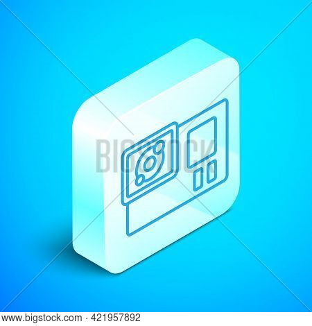 Isometric Line Action Extreme Camera Icon Isolated On Blue Background. Video Camera Equipment For Fi