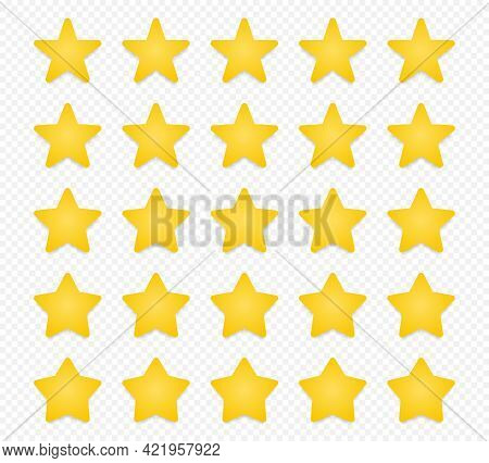 Quality Rating Symbols. Set Of Five-pointed Yellow Stars With Shadow Isolated On Transparent Backgro