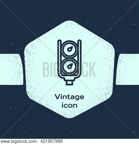 Grunge Line Gauge Scale Icon Isolated On Blue Background. Satisfaction, Temperature, Manometer, Risk