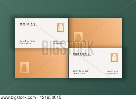 Real Estate Abstract Elegant Vector Logo And Business Cards Template. Premium Stationary Realistic M