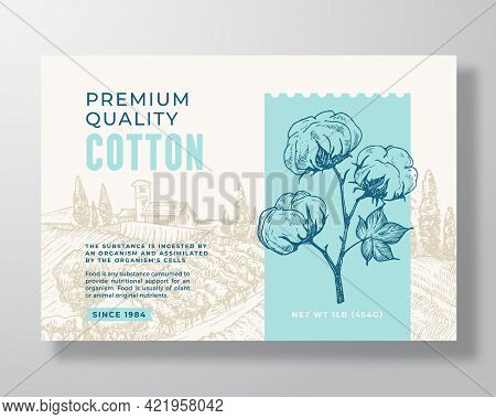 Local Premium Cotton Label Template. Abstract Vector Packaging Design Layout. Modern Typography Bann