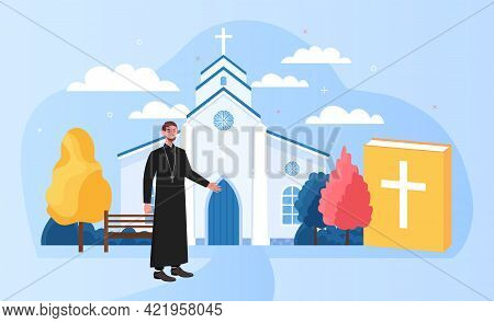 Male Priest Standing Outside Big White Church. Holy Church Priest In Black Clothing. Concept Of Sacr