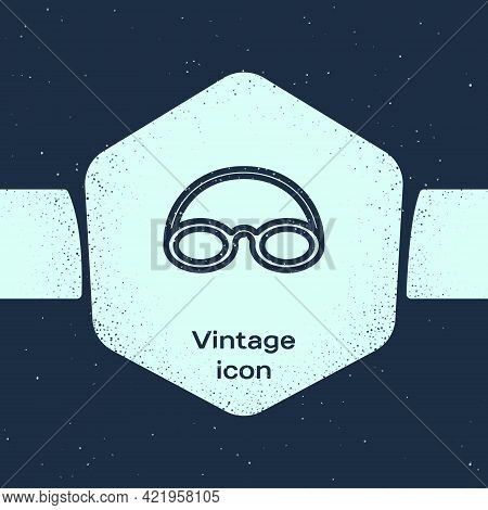 Grunge Line Glasses And Cap For Swimming Icon Isolated On Blue Background. Swimming Cap And Goggles.