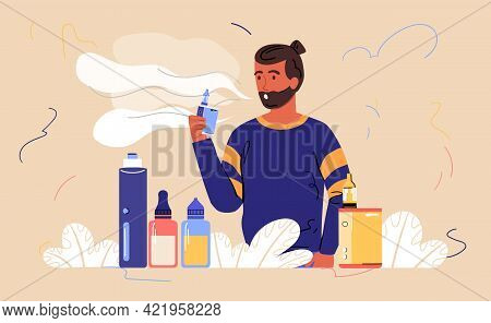 Male Bearded Character Is Enjoing Vaping. Smoking Device With Different Flavours. Concept Of Analog