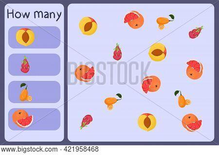 Kids Mathematical Mini Game - Count How Many Fruits - Nectarine, Dragon Fruit, Kumquat, Grapefruit.