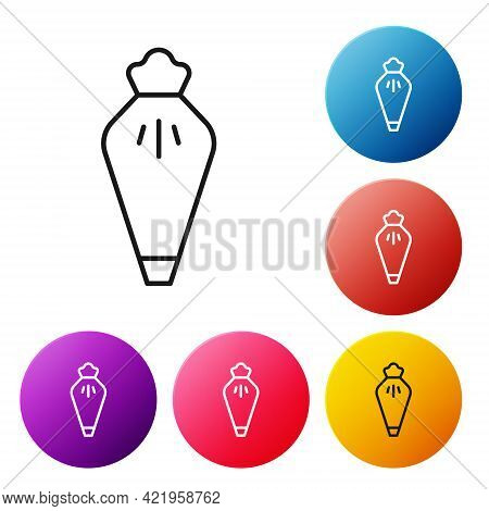 Black Line Pastry Bag For Decorate Cakes With Cream Icon Isolated On White Background. Kitchenware A