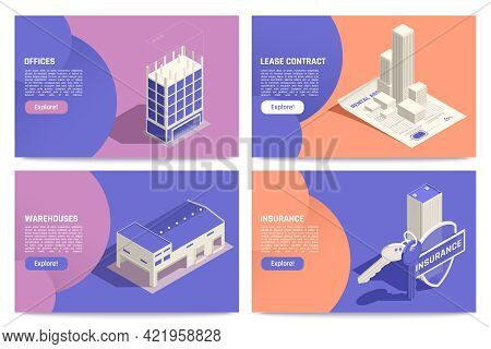 Commercial Real Estate Property Online 4 Isometric Tablet Screens With Offices Warehouse Lease Contr
