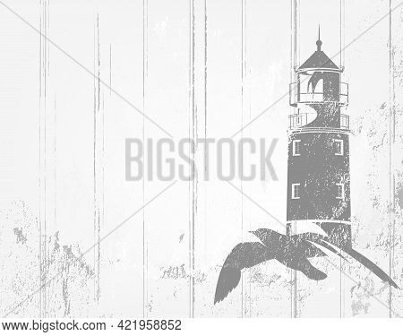 Vector Background In Shades Of Grey With Flying Sea Gull And Lighthouse Tower Outline Over White Woo
