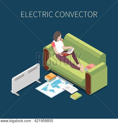 Woman Reading On Sofa With Electric Convector Heating Room 3d Isometric Vector Illustration