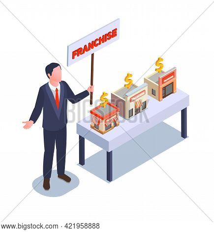 Franchise And Business Isometric Concept With Trademark Expansion Symbols Vector Illustration