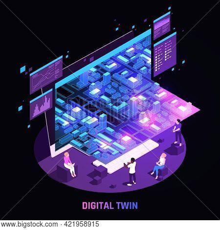 Digital Twin Technology Smart City Infrastructure Simulation Analysis Glowing Dark Circular Isometri
