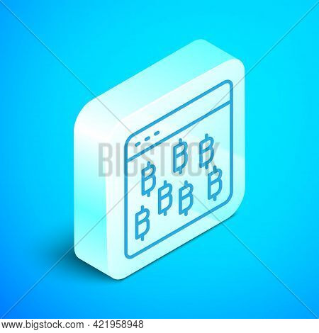 Isometric Line Cryptocurrency Coin Bitcoin Icon Isolated On Blue Background. Physical Bit Coin. Bloc