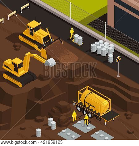 Toxic Waste Nuclear Chemical Pollution Biohazard Isometric Colored Composition With Digging A Pit To