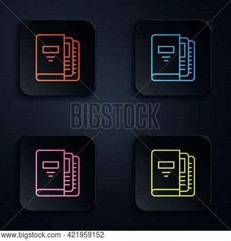 Color Neon Line Office Folders With Papers And Documents Icon Isolated On Black Background. Office B