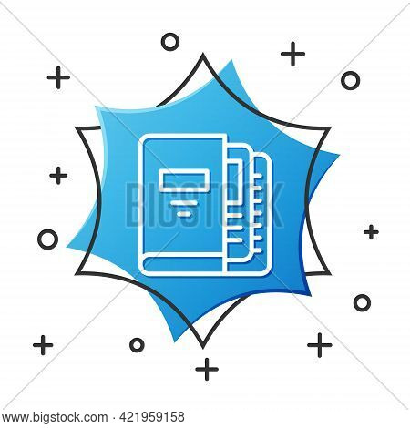 White Line Office Folders With Papers And Documents Icon Isolated On White Background. Office Binder