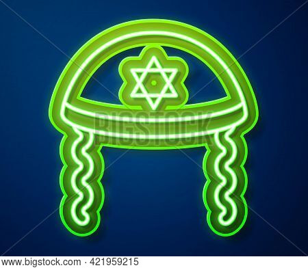 Glowing Neon Line Jewish Kippah With Star Of David And Sidelocks Icon Isolated On Blue Background. J