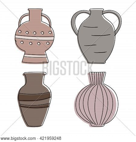 Collection Of Clay Cartoon Ancient Vases. Attributes And Decor Items, Tableware Items Of The Ancient