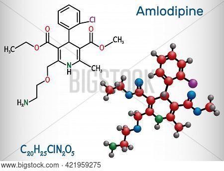 Amlodipine Molecule. It Is Vasodilator, Antihypertensive Drug Group Of Dihydropyridine Calcium Chann