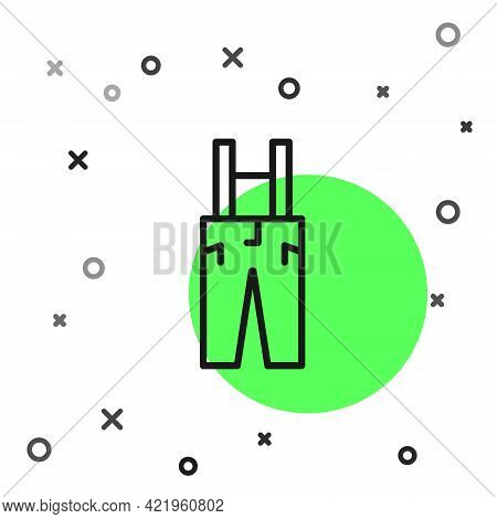 Black Line Pants With Suspenders Icon Isolated On White Background. Vector