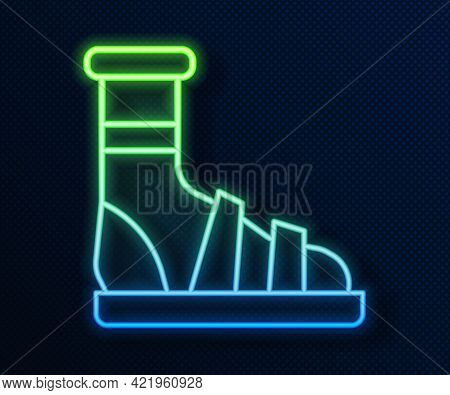 Glowing Neon Line Slippers With Socks Icon Isolated On Blue Background. Beach Slippers Sign. Flip Fl