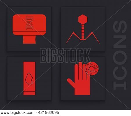 Set Hand With Virus, Dna Spiral And Computer, Bacteria Bacteriophage And Blood Test And Virus Icon.