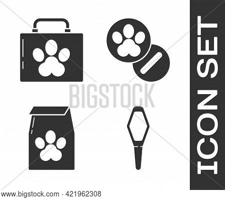 Set Pets Vial Medical, Pet First Aid Kit, Bag Of Food For Pet And Dog And Pills Icon. Vector
