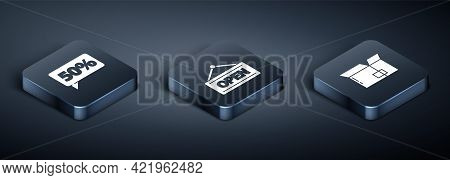Set Isometric Fifty Discount Percent Tag, Carton Cardboard Box And Hanging Sign With Open Icon. Vect