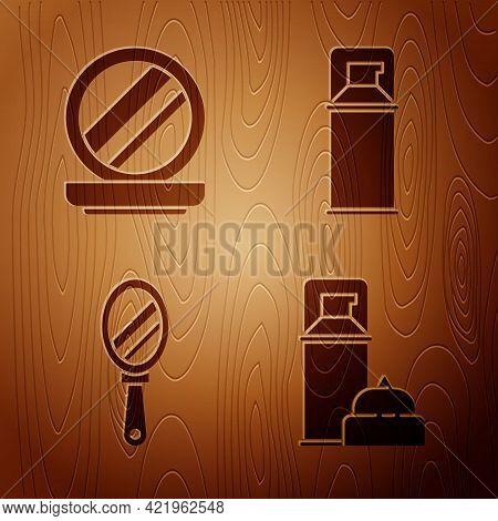 Set Shaving Gel Foam, Makeup Powder With Mirror, Hand Mirror And Shaving Gel Foam On Wooden Backgrou